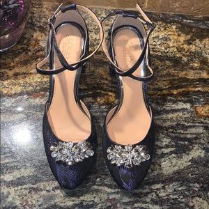 Elegant Navy Blue Heels With Crystals